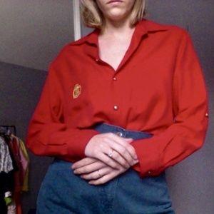 [Vintage] Red Silk Button Down Shirt